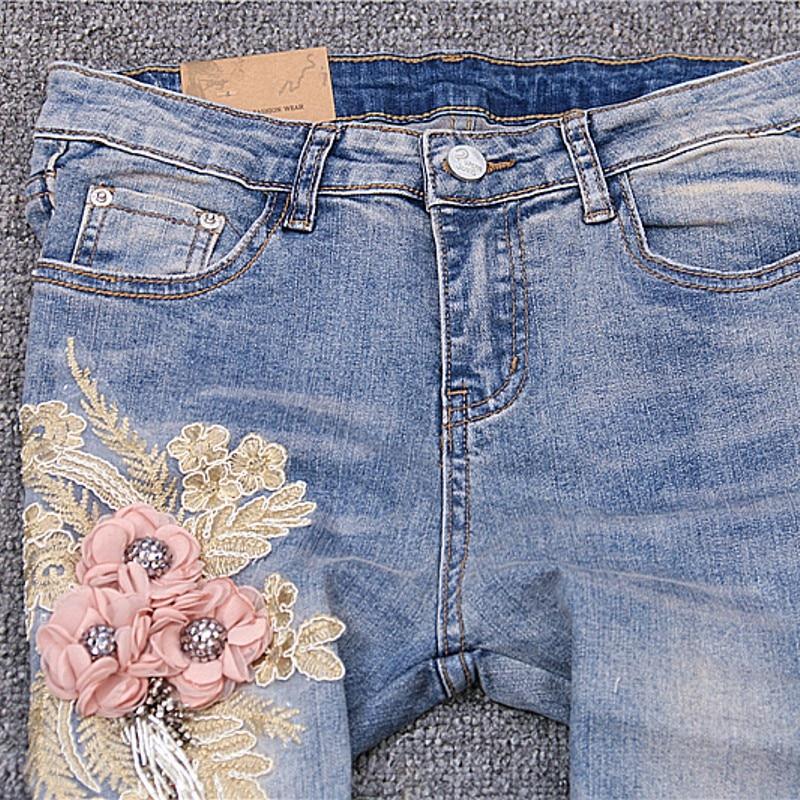 Azul Chica Flor Denim Blue 2019 Borla Slim Pantalones Lavado Vaqueros Bordado Para Mujeres Cremallera Femeninos Nuevo 4wOq6q