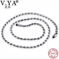 3MM S925 Sterling Silver Chain 100% Pure Silver Chain Necklace Thai Silver Necklaces Women Men Jewelry HYN24