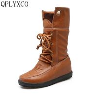 QPLYXCO 2017 New sale short boots Big Size 34-44 Autumn Winter stlye Casual lace ups Boots warm Women shoes 1703