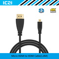 ICZI Micro HDMI to HDMI Cable 1.8M 3D 4K @60Hz Goldplated Supports Ethernet Micro HDMI to HDMI Cable for Smart Phones etc