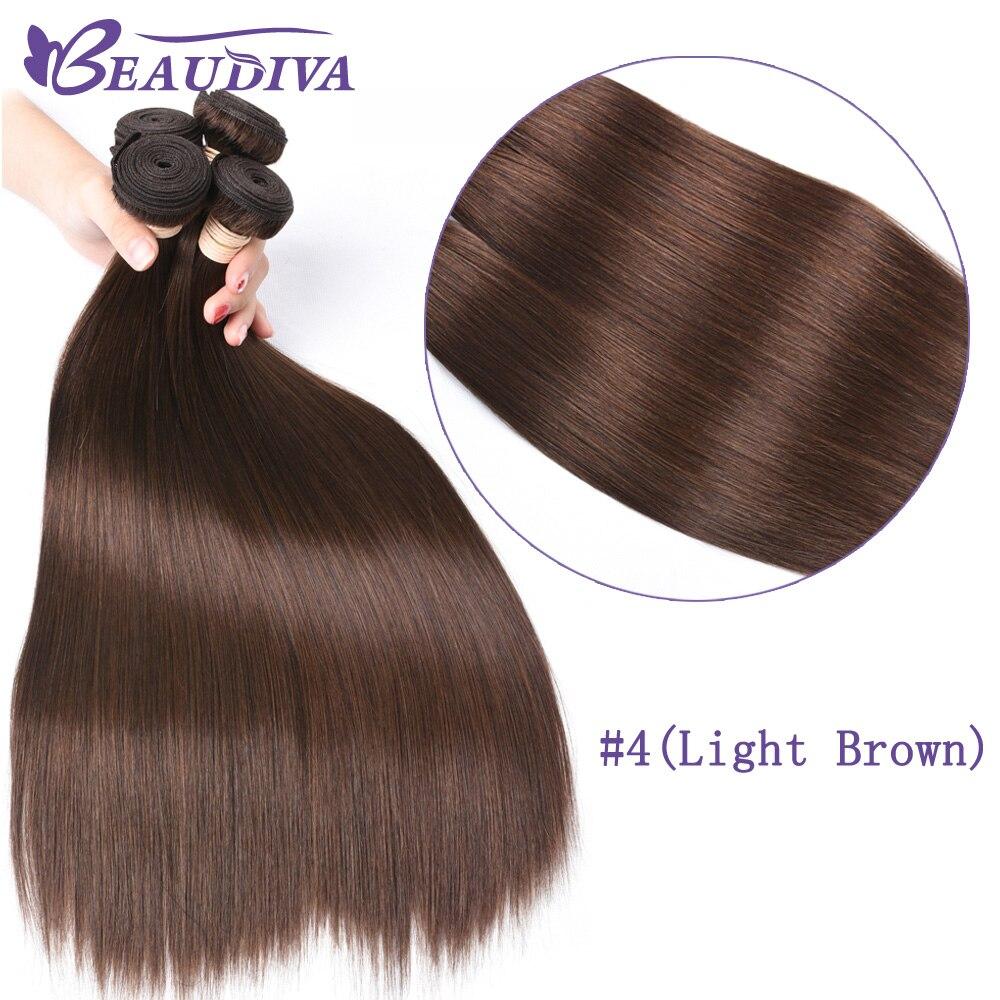 Beaudiva Pre-Colored Hair Weave Brazilian Human Hair Bundles 3 PCS #4 Light Brown 8-26 Straight Human Hair Weave Bundles Remy