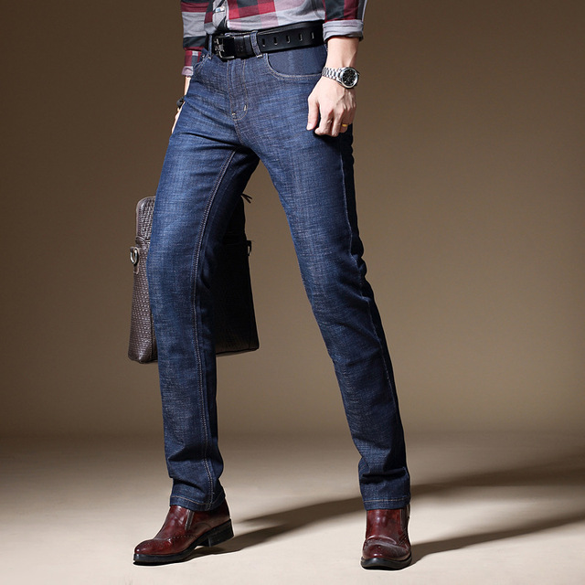 b883ce2a78 Business Men Casual Jeans 2018 Fashion New Arrival Slim Fit Mid Waist Male  Full Length Smart Casual Denim Jeans Pants 28-40