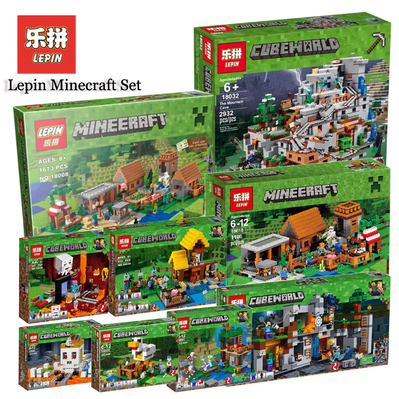 Lepin Minecrafted Set 18032 18008 18010 18041 18042 Compatible Legoing 21137 Mountain Cave Model Building Kits Blocks Bricks Toy lepin 18032 minecrafted figures the mountain cave model building kits blocks bricks toys for children compatible legoing 21137