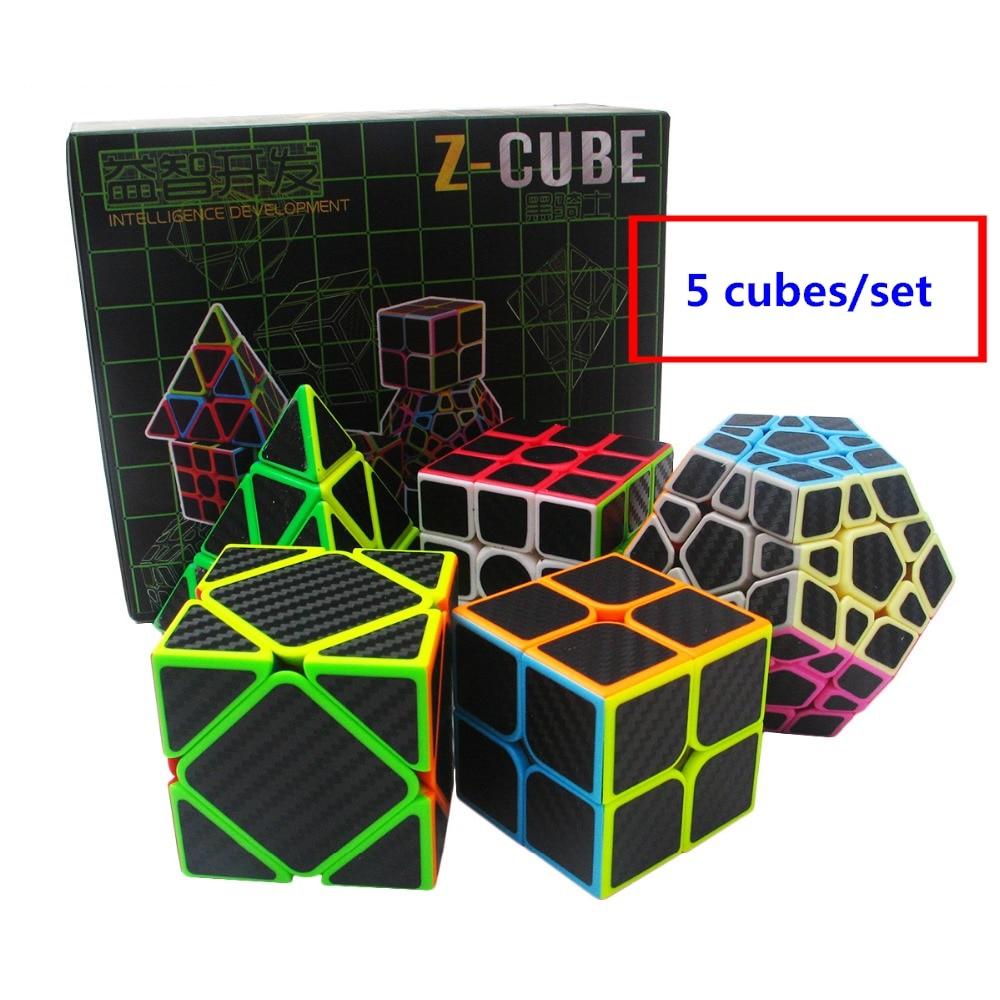 Zcube 5 pcs/boîte En Fiber De Carbone Magique Cube & Dodécaèdre et Axe Cube & 2x2x2 Cube & 3x3x3 Couches Cube Vitesse Puzzle Jouets