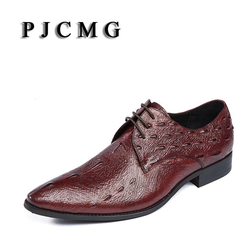 PJCMG Fashion High Quality Comfortable Brand Men Crocodile Pattern Genuine Leather Lace-up Pointed Toe Flats Oxfords Men Shoes men genuine leather shoes top brand new fashion casual loafers soft and comfortable oxfords crocodile skin flats zapatos hombre