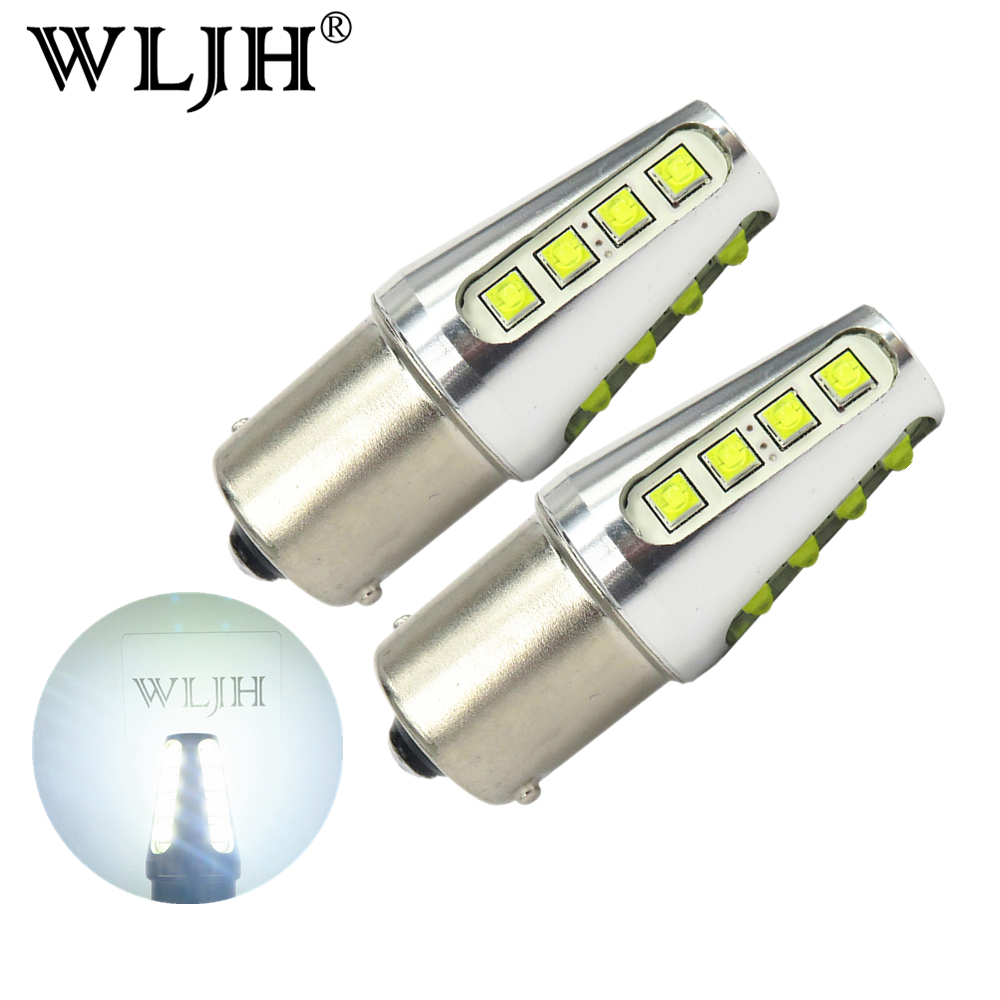 WLJH 2x White 1156 LED BA15S P21W 7506 7527 Auto LED Bulb Car Lights Brake Turn Signal Reverse Light Parking light 12V 24V Truck
