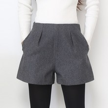 Wide Leg Winter Shorts For Women Wool Boots Shorts Candy Colors Zip Up Loose Short Pants With Pockets Female Casual Wear цена и фото
