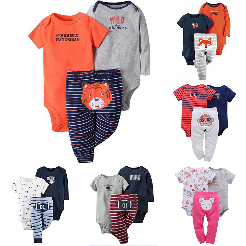 2018 Spring Summer Baby Girls Clothes Sets Cotton Romper+Cartoon Cute Pants 3 Piece Newborn Infant Baby Boys clothing set newborn infant baby girls boys spring short sleeves cotton clothes suit 2 pcs baby unisex cartoon casual strapped clothing set