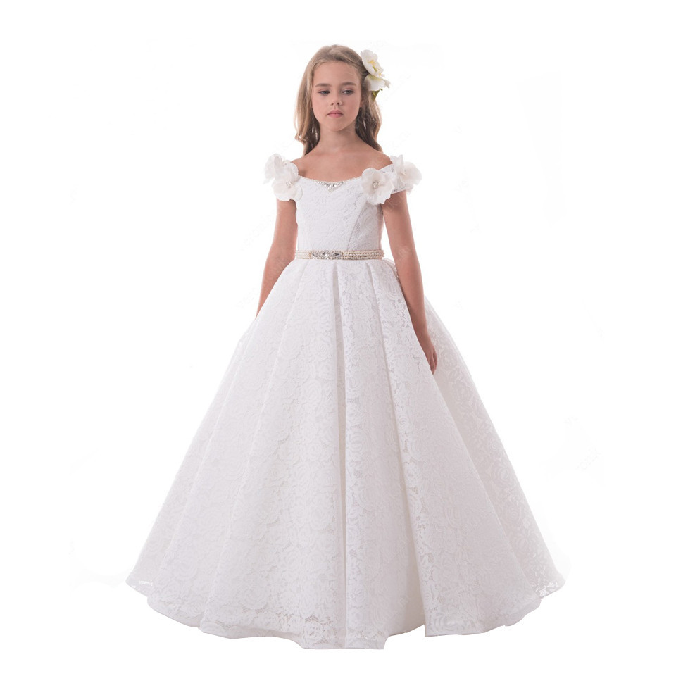 White Ivory 2018 New Flower Girls Dresses Ball Gown with Beaded Sash Princess First Communion Dress Custom Made gorgeous new white lace flower girls dresses applique with sash bow girls first communion dress ball gown custom made