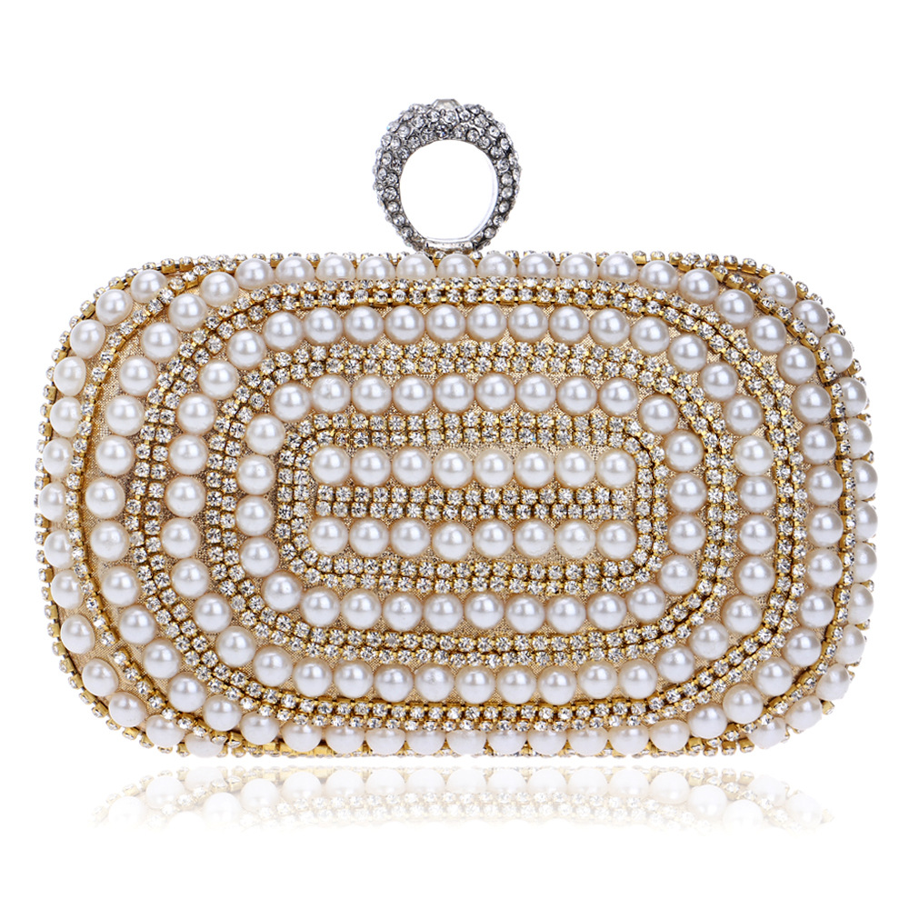 цена на Chic Day Cltuch with Luxury Rhinestone for Women, Beaded Evening Clutch Bags with One Ring, Chain Bag
