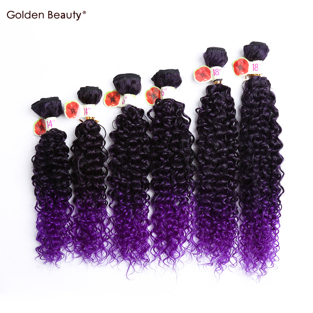14 18inch Curly Synthetic Hair Weave Ombre Purple Colored