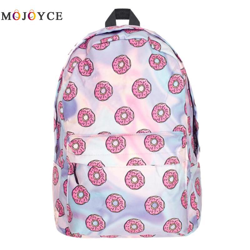 Cute Donut Print Women Backpacks Teenager Girls Back pack Casual Oxford Travel Shoulder Knapsack Mochila Feminina