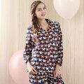 Qianxiu Primavera Pijama para as mulheres 100% Algodão Sleepwear Longo-luva Terno feminino Plus Size Pijama ternos
