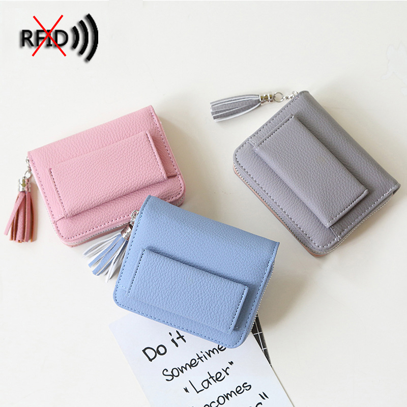 RFID Protected Women Wallet Leather Female Purse Short Tassel Wallets Mini Card Holder Wallet Female Coins Trifold Purse Fashion