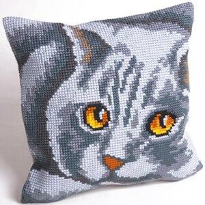 Вышивка крестом подушка с кошкой
