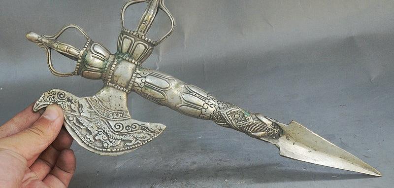 "12"" Collect Tibet Buddhism Silver Exorcism Eagle Dragon Axe Phurba Dagger Holder"