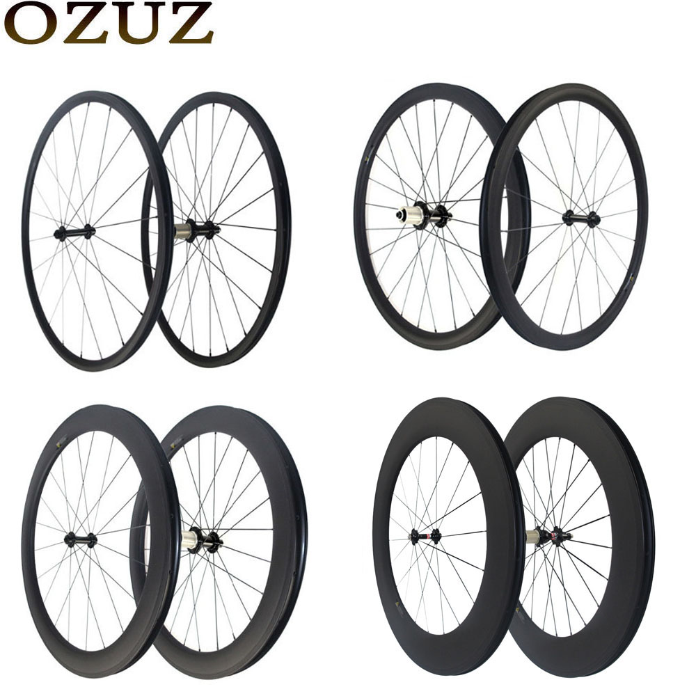 OZUZ 700C Ultra Light 1180g Carbon Wheels 24mm 38mm 50mm 60mm 88mm Carbon Clincher Tubular Wheelset Road Bike Bicycle Wheels velosa supreme 50 bike carbon wheelset 60mm clincher tubular light weight 700c road bike wheel 1380g