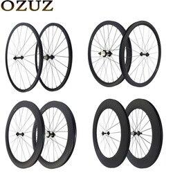 Ozuz Trọng Lượng Nhẹ Đường Carbon Bánh Xe 24/38/50 Mm Độ Sâu Hình Ống Đi Xe Đạp Clincher Wheelset 3 K Mờ trung Quốc 700C 23 Mm Rộng