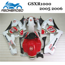 Molde de inyección Kit de carenado de plástico ABS para Suzuki GSXR1000 2005 2006 blanco rojo K5 K6 GSXR1000 motocicleta carenados piezas LK11