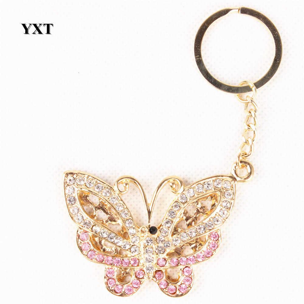Новая мода Бабочка Fly милый Кристалл Шарм Подвеска для сумочек сумка автомобильный брелок вечерние Свадебные День рождения изысканный подарок