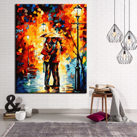 At Night Lovers Holding Umbrellas Picture By Numbers Abstract DIY Painting Kits Hand paited On Linen Canvas Decor Wall Artwork