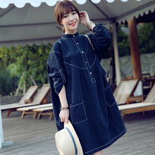2016 Spring Autumn New Dress Long Sleeved Women Retro Small Collar Pendulum Dress Wholesale Maternity Clothes