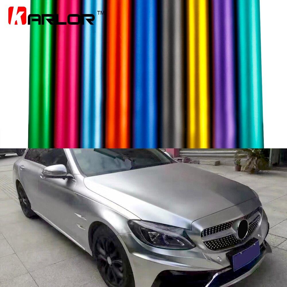 Film de vinyle de glace chromé mat de style automobile Film de vinyle chromé mat métallisé autocollants d'emballage de voiture avec bulle d'air libre