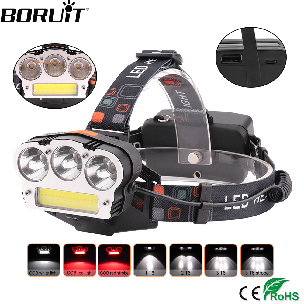 BORUiT XML T6 COB LED Headlamp 7-Mode Zoomable Headlight USB Charger Power Bank Head Torch Outdoor Flashlight by 18650 Battery