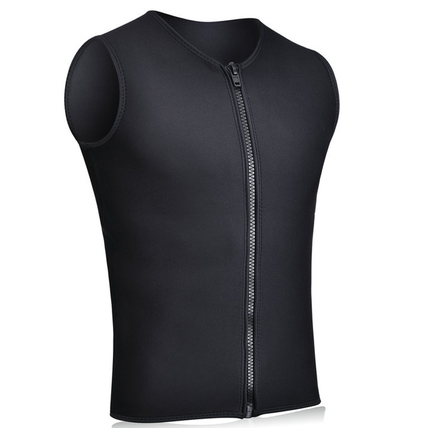 Realon Wetsuits Vest Mens 3mm Neoprene Top Shirt Sleeveless Front Zipper Sports XSPAN for Scuba Diving Surfing Swim Snorkeling