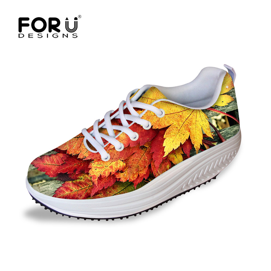 FORUDESIGNS Fashion Lady's Flat Platform Shoes Maple Printed Height Increasing Leisure Female Swing Slimming Shoes Breathable