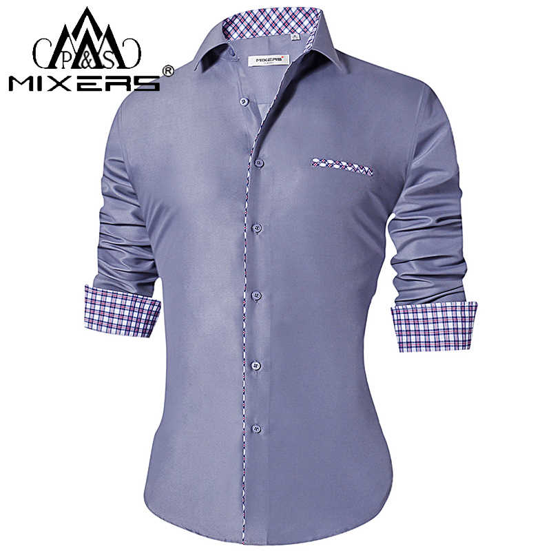 2018 Fashion heren Shirts Slim Fit Casual Lange Mouwen Turn-Down Kraag Formele Kleding Shirts mannen Kleding 2018 Camisa
