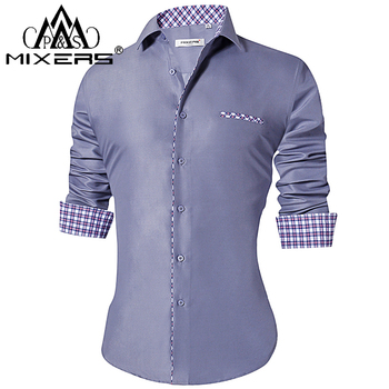 0f6f0b779fa 2018 модные мужские рубашки Slim Fit Мужские повседневные рубашки с длинным  рукавом отложной воротник формальное платье