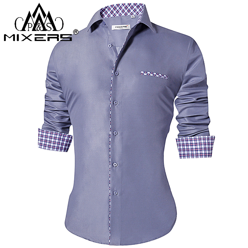 2018 Fashion Men's Shirts Slim Fit Men's Casual Shirts Long Sleeve Turn-Down Collar Formal Dress Shirts Men Clothes 2018 Camisa