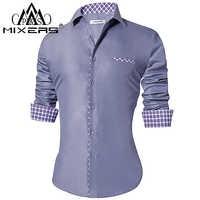 2018 camisas de moda para hombre ajustadas camisas informales de manga larga cuello vuelto camisas de vestir formales ropa de hombre 2018 Camisa