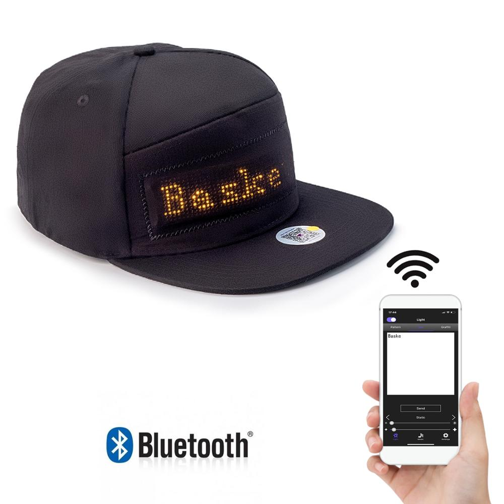 Amber Bluetooth LED Display Wholesale Cotton Cap Baseball Button Cap Summer  Hip-hop Fitted Cap Gift For Men And Wome