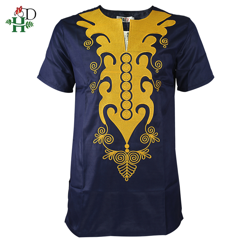 H&D African Dashiki T Shirt For Men Short Sleeve Men's Shirts Traditional African Embroidered Tops Gold Dark Blue Clothes 2019