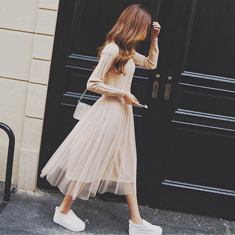 Elegant Sweater Dress Autumn Winter Dress Knitted Long Sleeve Women Dress Sweater Mesh Patchwork Office Casual Long Dress