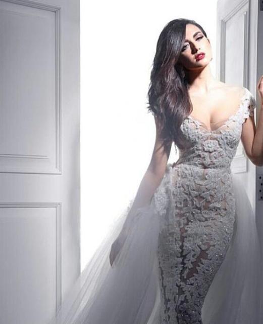 Crystals Luxury Lace V Neck Wedding Dresses Detachable Train Bridal Gowns China Vestidos De Novia Largos Floor Length