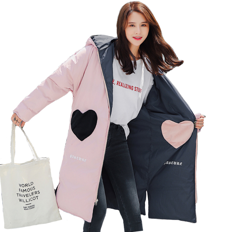 2019 New Design Double Two Sides Winter Jacket Women Hooded Warm Thicken Female   Down     Coat   Long Parka Loose