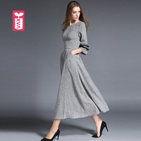 Brand Celebrities Party High Grade Women Gray Maxi Long Formal Gowns Dresses Female Cambric Vestidos Vacation