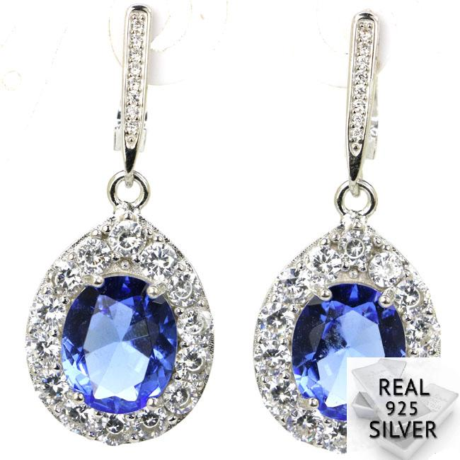 9.1g Real 925 Solid Sterling Silver Ravishing Top Violet Tanzanite CZ Womans Earrings 41x16mm9.1g Real 925 Solid Sterling Silver Ravishing Top Violet Tanzanite CZ Womans Earrings 41x16mm
