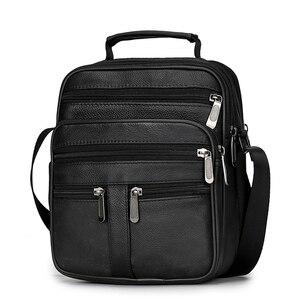 Image 2 - 男性本革メッセンジャーバッグ牛革ショルダーバッグデザインブランドショルダーバッグ男性バッグ黒レトロ多機能ハンドバッグ