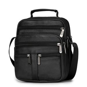Image 2 - Męska torba z prawdziwej skóry torebka na ramię ze skóry bydlęcej na męskie torby Crossbody czarne Retro wielofunkcyjne torebki