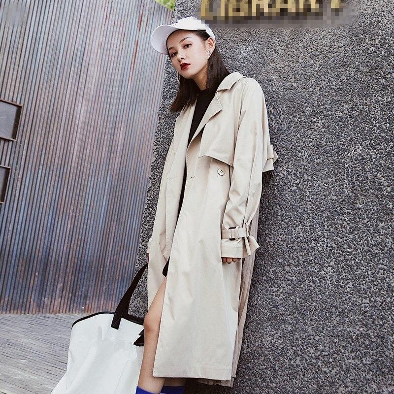 2019 New  Female Long Sleeve Big Size Overcoat Women Pleated Trench Coat Pockets Fashion Loose Patchwork Long Windbreaker