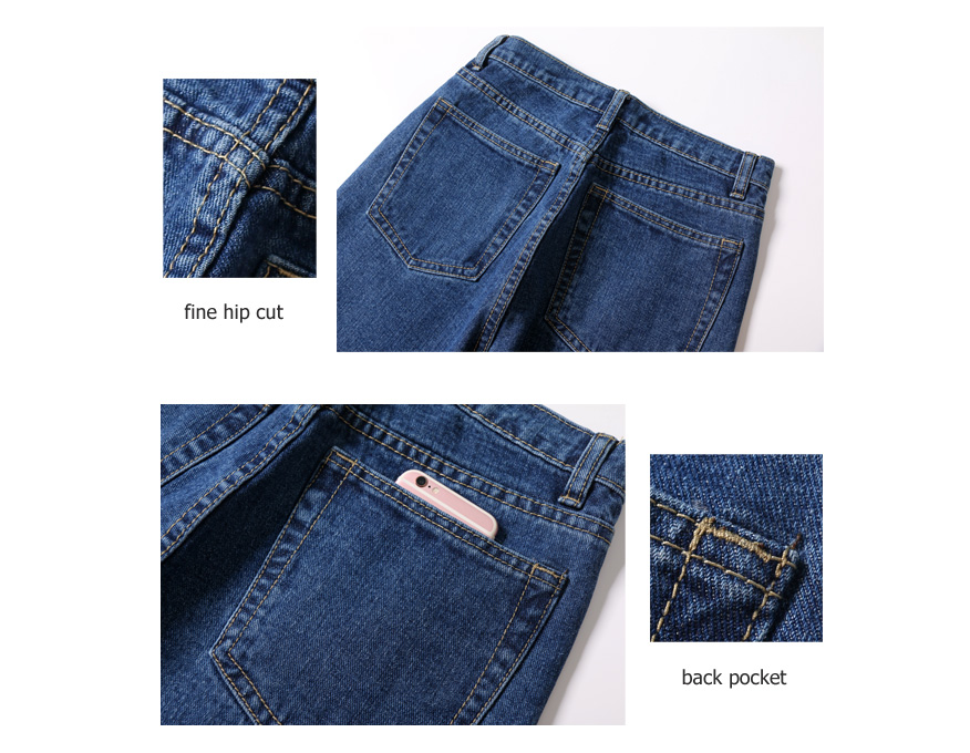 Vintage High Waist Jeans Full Length Cowboy Denim Pants 36