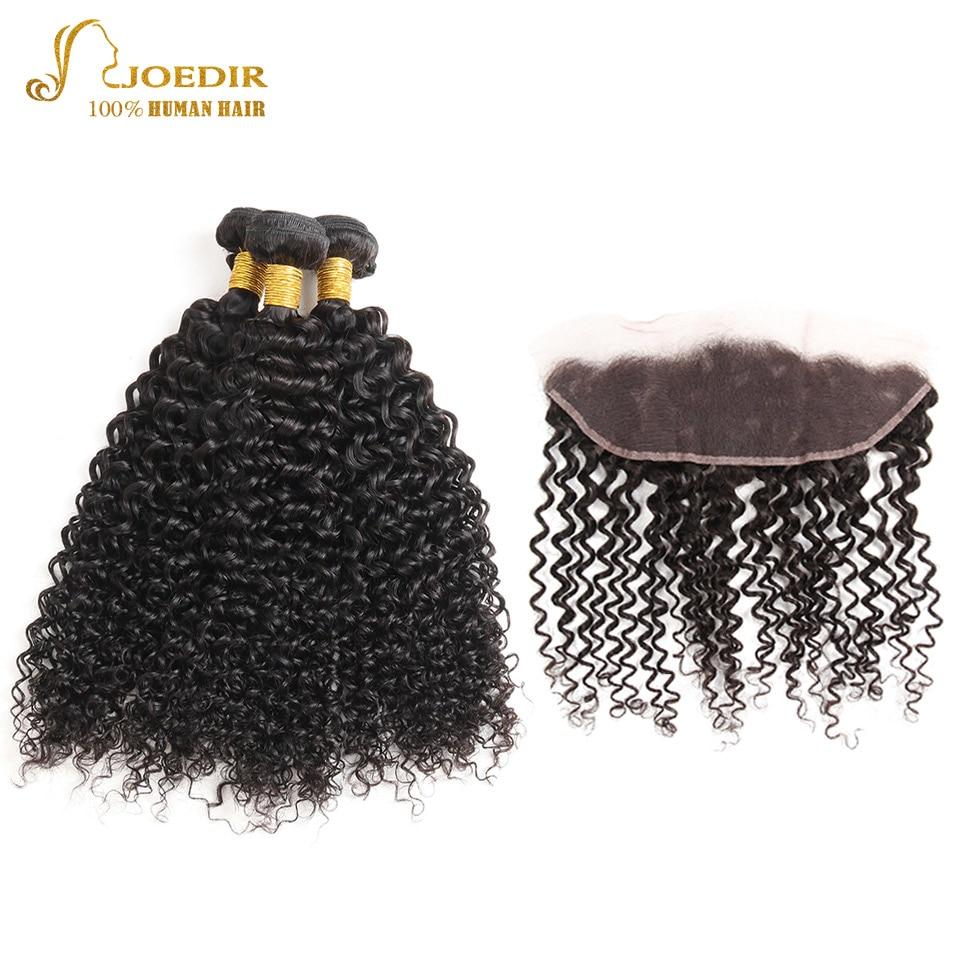 Joedir Kinky Curly Hair 100% Human Hair 3 Bundles With 13X4 Lace Frontal Closure Non Remy Brazilian Hair Weave Bundles Deals Fre