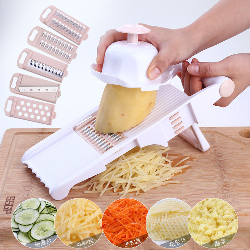 Manual Mandoline Slicer with 8 Interchangeable Blades Used as Potato Peeler Carrot Grater 2