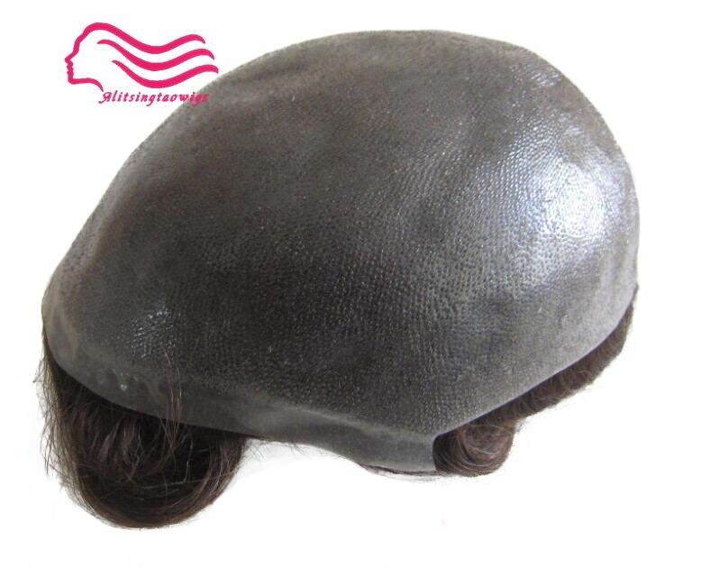 Durável da pele Fina 12-14, homens peruca 8X10 laço V/nó, injetado cabelo repacement, Cabelo prosthesise frete grátis