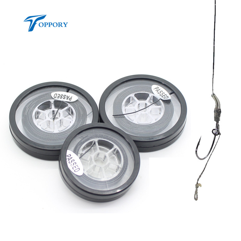 Topppry 1 Spools Coated Hook Link for Carp Fishing Stiff Rigs Braid Line Hair Rig Making Tippet Material 25lb 35lb 5M 10M