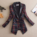 2015 Promotion Regular Broadcloth Free Shipping New Spring And Autumn Suit Female Slim One Button Long-sleeve Plaid Small Jacket